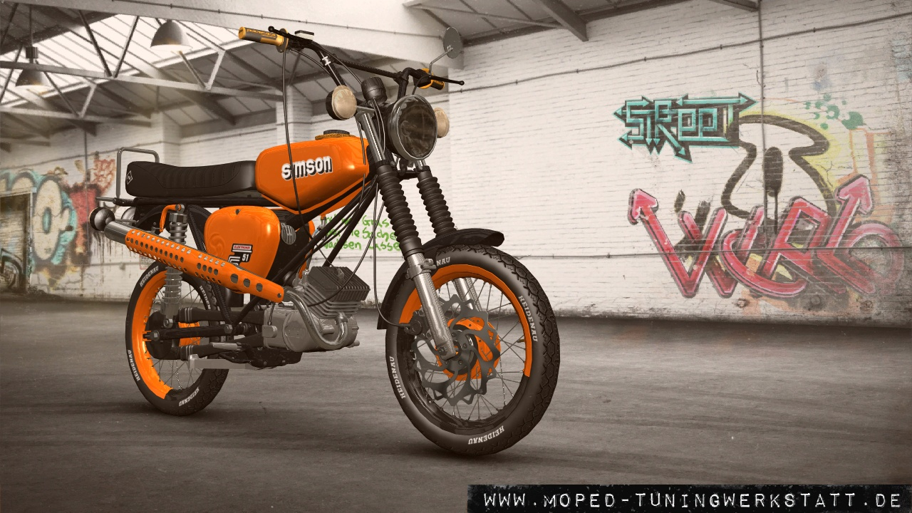 S51 enduro schwarz orange